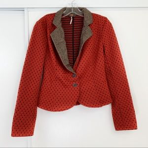Free People Orange Quilted Polka Dot Blazer ❣️